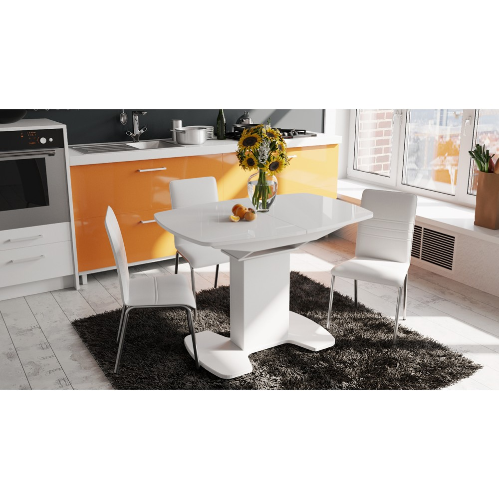Обеденный стол Италия 1100x750x750мм Белый глянец/Стекло белое